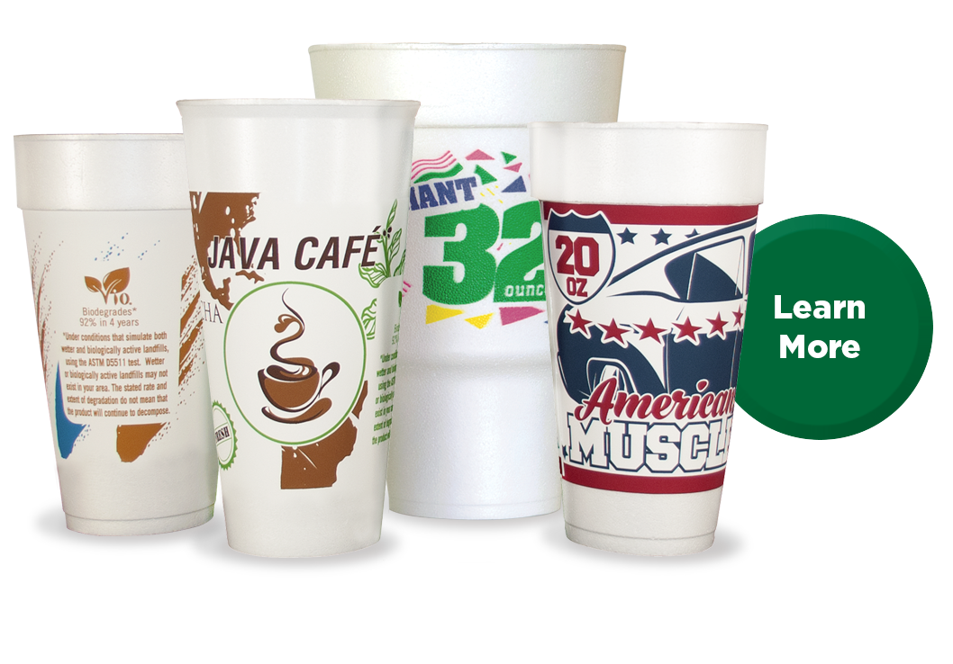 New Vio® Biodegradable* Stock Print To-Go Cups